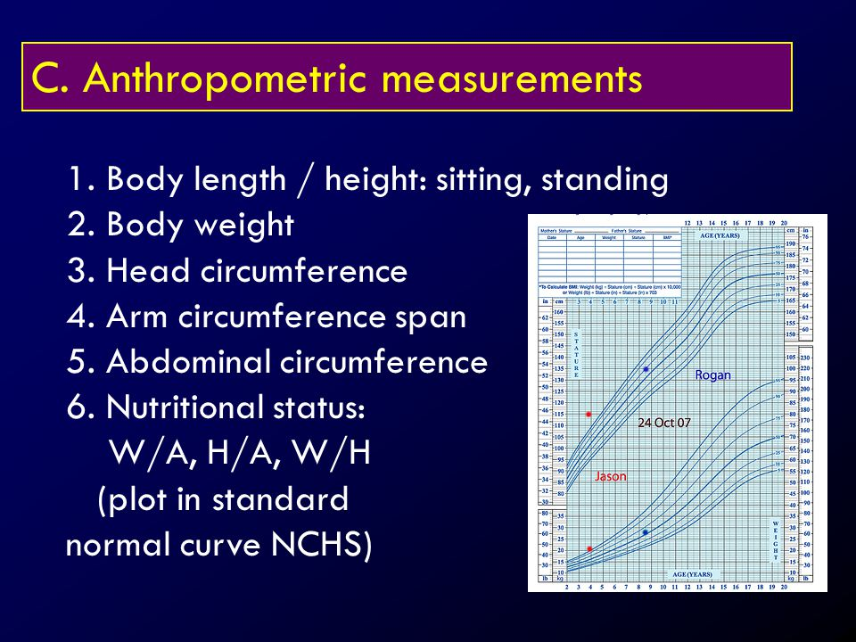 C. Anthropometric measurements 1. Body length / height: sitting, standing 2. Body weight 3. Head circumference 4. Arm circumference span 5. Abdominal