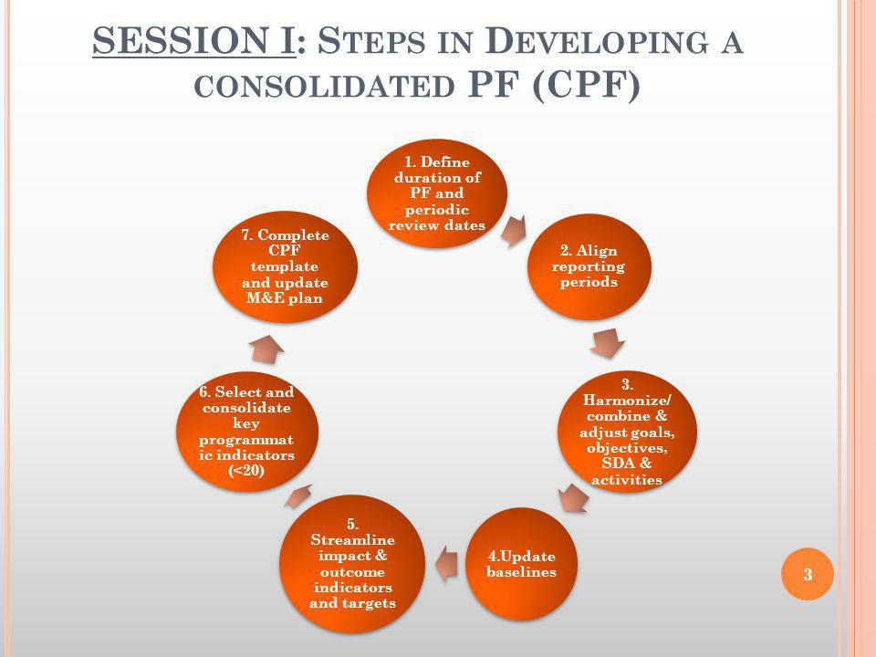 SESSION I: S TEPS IN D EVELOPING A CONSOLIDATED PF (CPF) 1. Define duration of PF and periodic review dates 2. Align reporting periods 3. Harmonize/ c