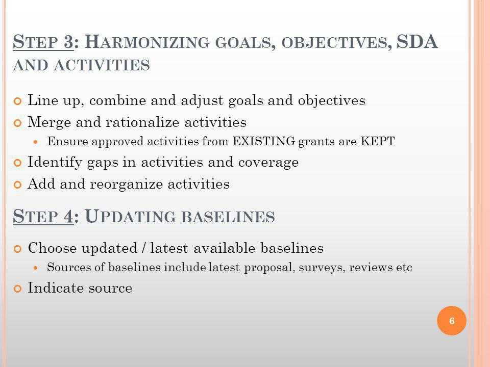 S TEP 3: H ARMONIZING GOALS, OBJECTIVES, SDA AND ACTIVITIES Line up, combine and adjust goals and objectives Merge and rationalize activities Ensure a