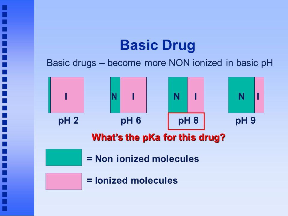 Basic Drug = Non ionized molecules = Ionized molecules Basic drugs – become more NON ionized in basic pH pH 9 NI pH 8 NI pH 2 I pH 6 I N What's the pK