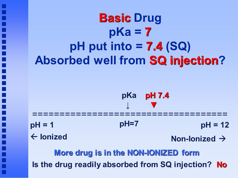 Basic 7 7.4 SQ injection Basic Drug pKa = 7 pH put into = 7.4 (SQ) Absorbed well from SQ injection? ==================================== pH = 1pH = 12