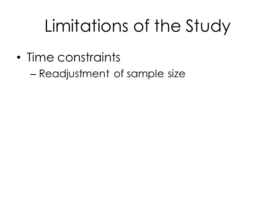 Limitations of the Study Time constraints – Readjustment of sample size