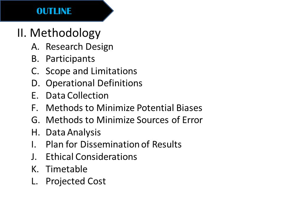 II. Methodology A.Research Design B.Participants C.Scope and Limitations D.Operational Definitions E.Data Collection F.Methods to Minimize Potential B