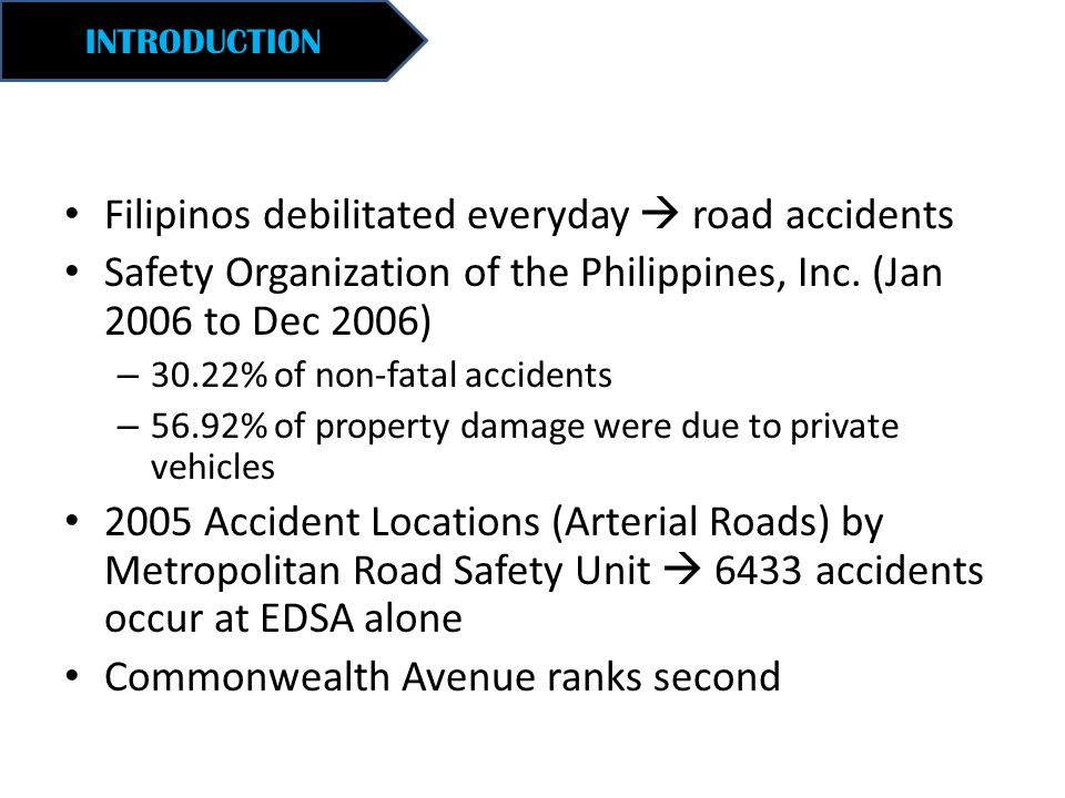 INTRODUCTION Filipinos debilitated everyday  road accidents Safety Organization of the Philippines, Inc. (Jan 2006 to Dec 2006) – 30.22% of non-fatal