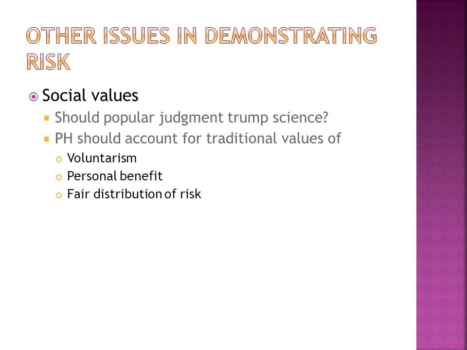  Social values  Should popular judgment trump science.