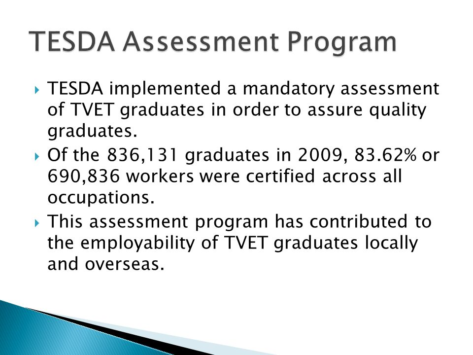  TESDA implemented a mandatory assessment of TVET graduates in order to assure quality graduates.  Of the 836,131 graduates in 2009, 83.62% or 690,8