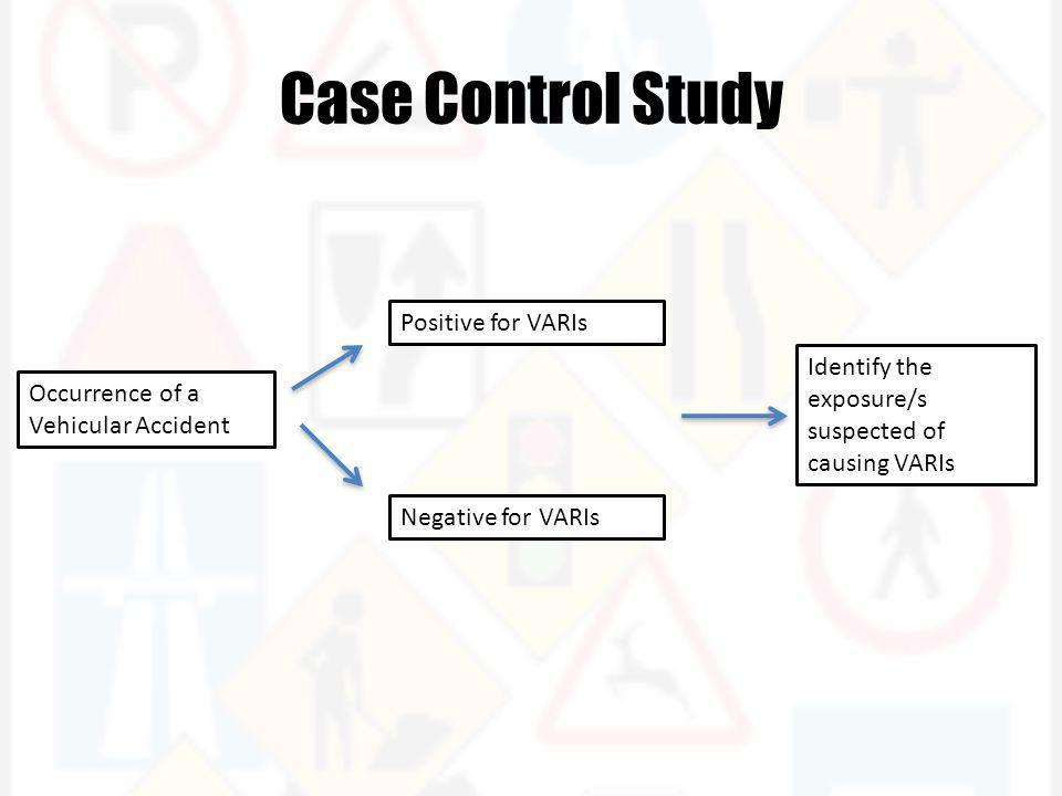 Case Control Study Occurrence of a Vehicular Accident Positive for VARIs Negative for VARIs Identify the exposure/s suspected of causing VARIs