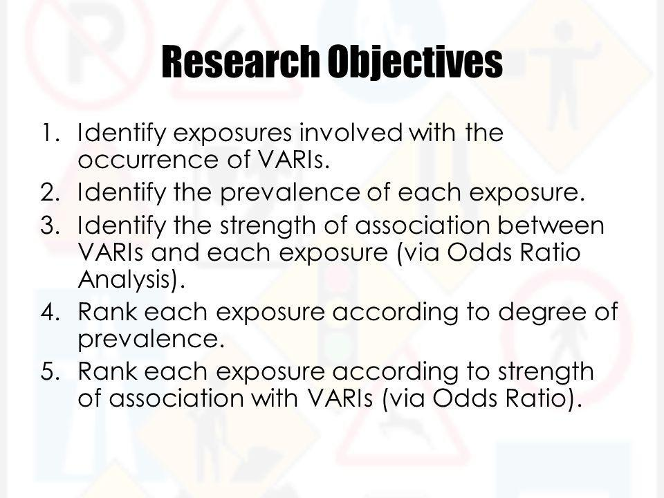 Research Objectives 1.Identify exposures involved with the occurrence of VARIs.