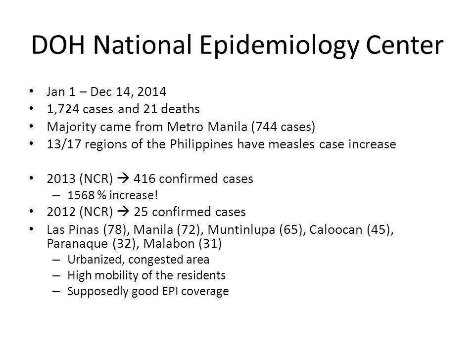 DOH National Epidemiology Center Jan 1 – Dec 14, 2014 1,724 cases and 21 deaths Majority came from Metro Manila (744 cases) 13/17 regions of the Philippines have measles case increase 2013 (NCR)  416 confirmed cases – 1568 % increase.