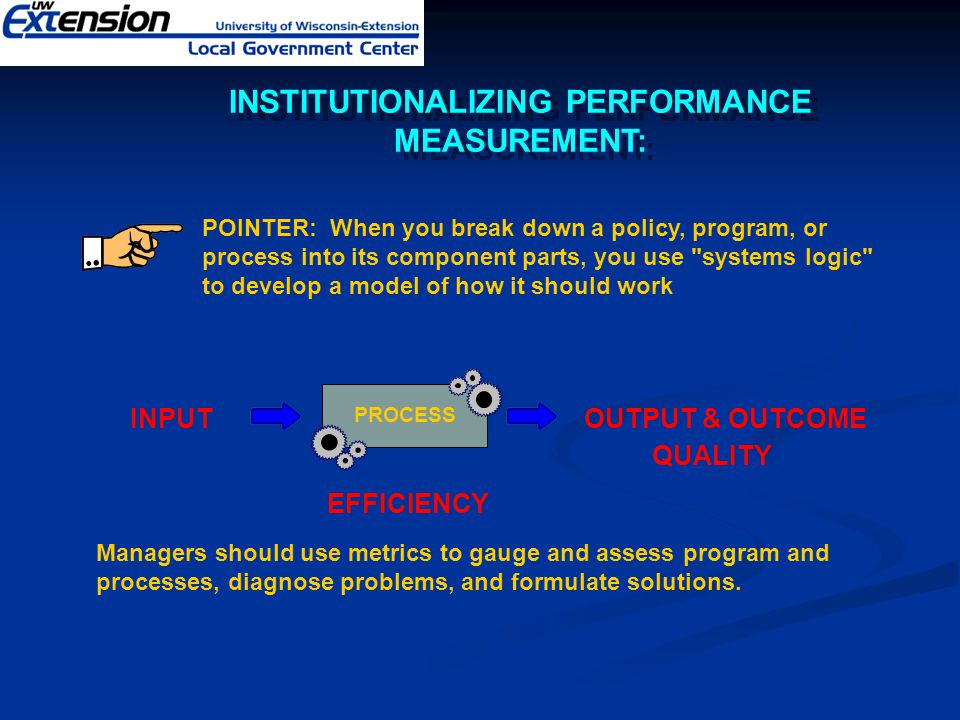 POINTER: When you break down a policy, program, or process into its component parts, you use