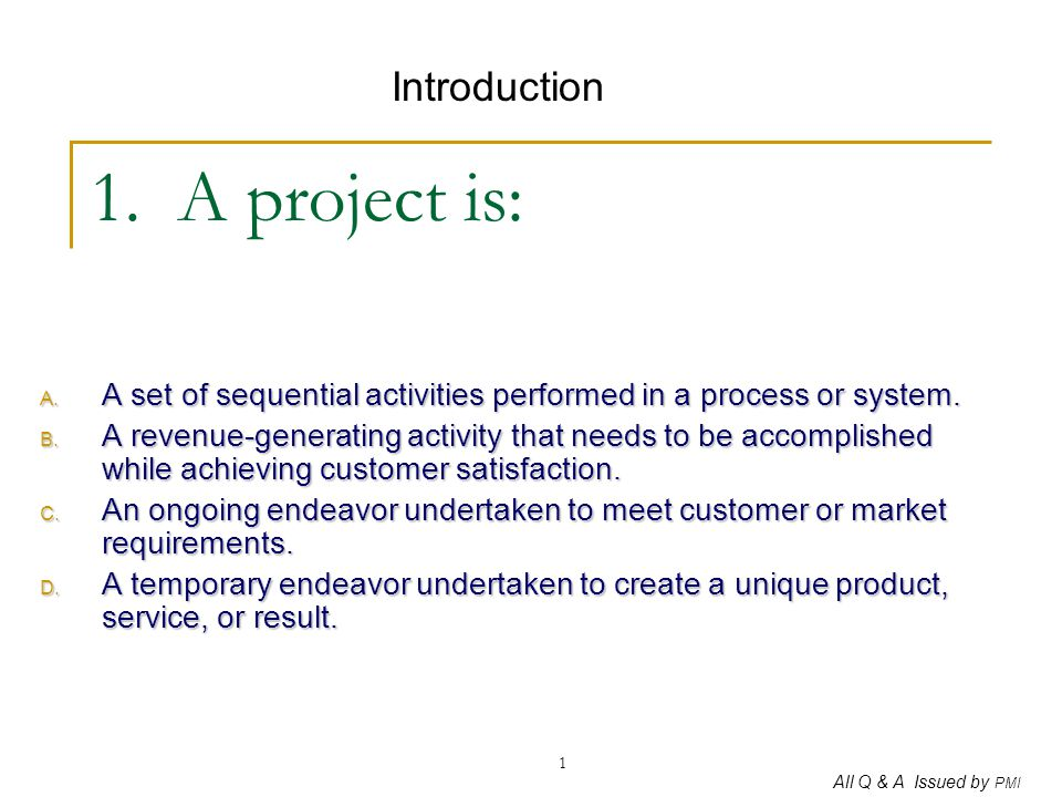 All Q & A Issued by PMI 32 32.The schedule control process for a project : A.
