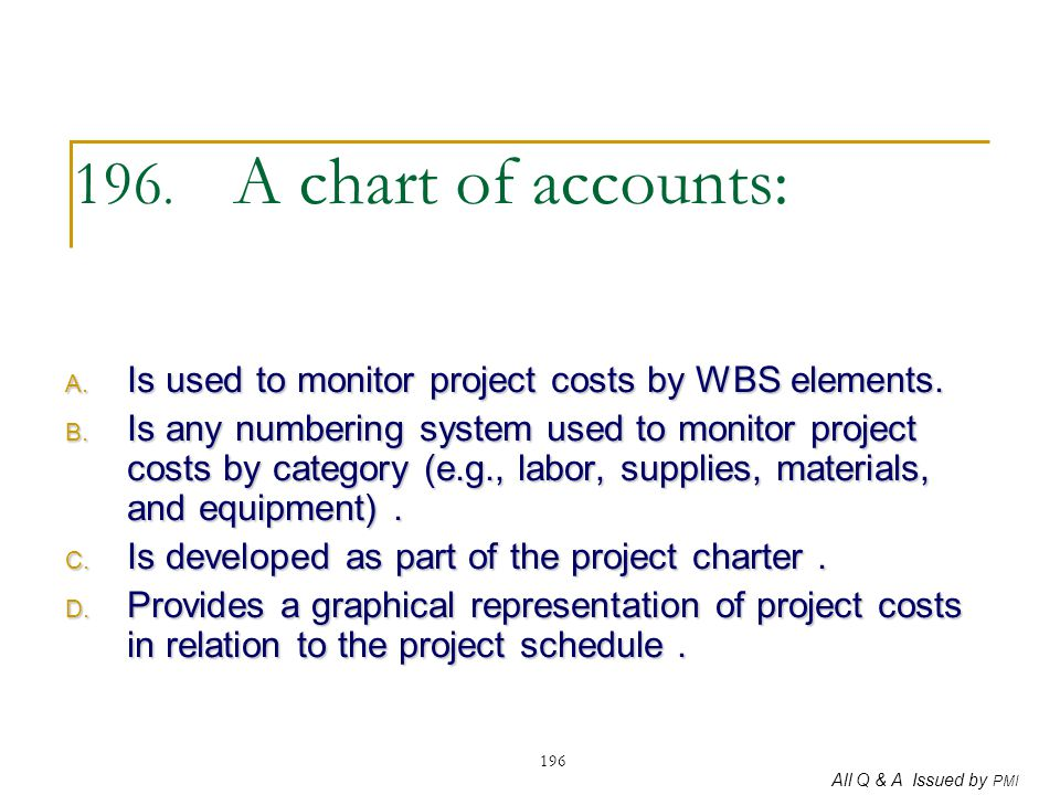 All Q & A Issued by PMI 196 196. A chart of accounts: A. Is used to monitor project costs by WBS elements. B. Is any numbering system used to monitor