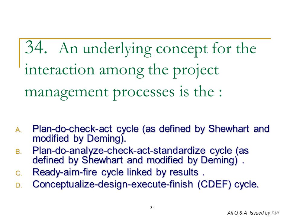 All Q & A Issued by PMI 34 34. An underlying concept for the interaction among the project management processes is the : A. Plan-do-check-act cycle (a
