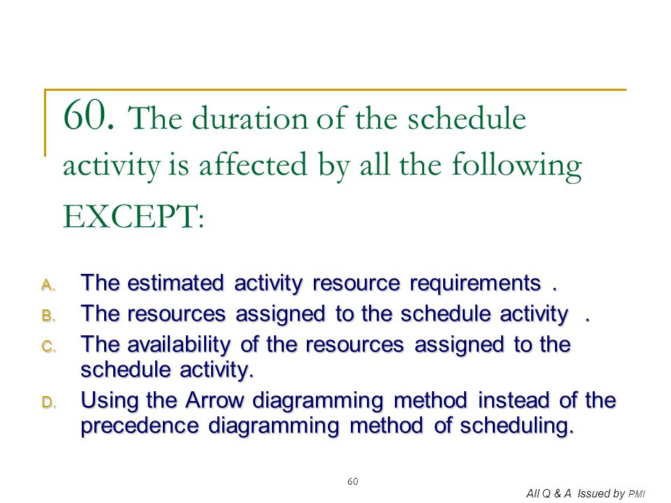 All Q & A Issued by PMI 60 60. The duration of the schedule activity is affected by all the following EXCEPT : A. The estimated activity resource requ