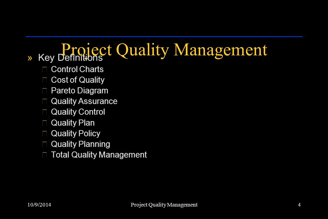 10/9/201425Project Quality Management Control Chart »Process results over time »Process is in control when the number of defects fall within upper and lower control limits.