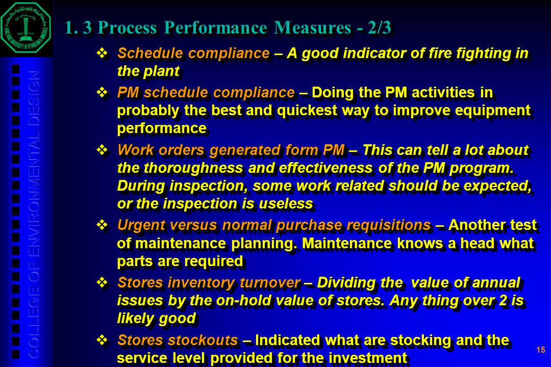 15 1. 3 Process Performance Measures - 2/3  Schedule compliance – A good indicator of fire fighting in the plant  PM schedule compliance – Doing the