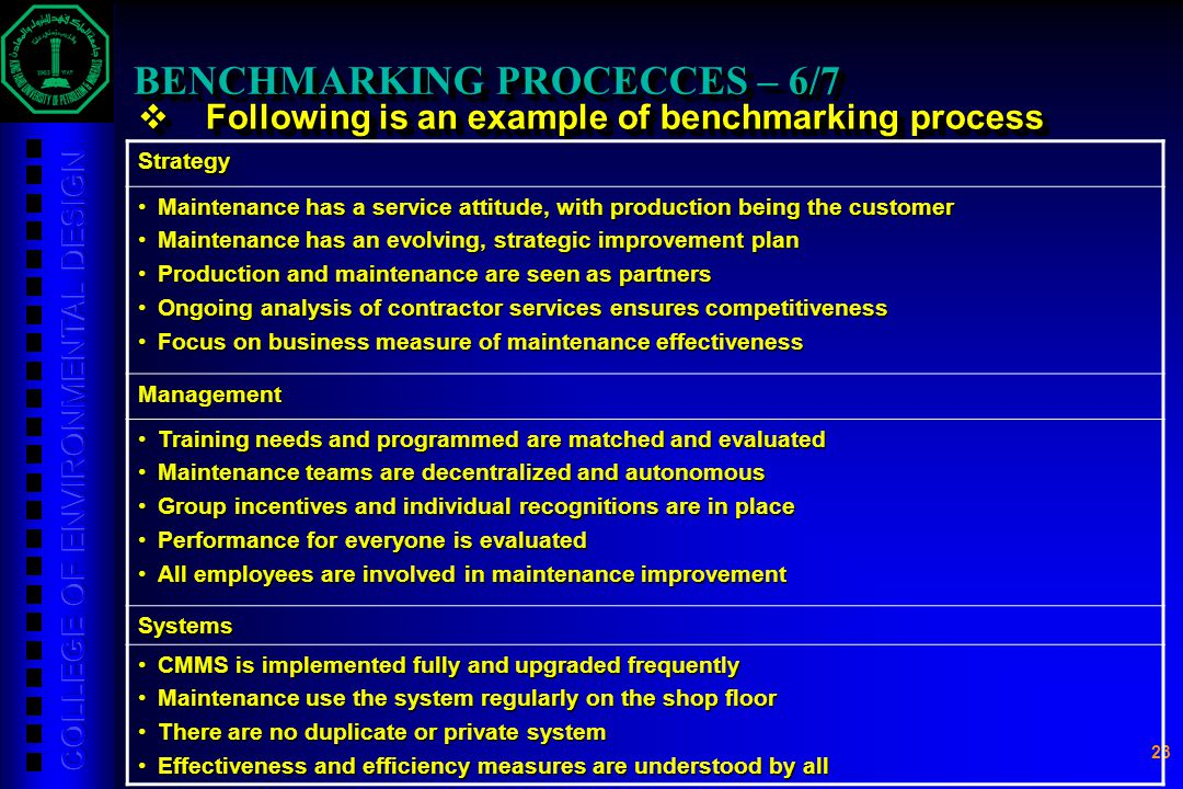 23 BENCHMARKING PROCECCES – 6/7  Following is an example of benchmarking process Strategy Maintenance has a service attitude, with production being t
