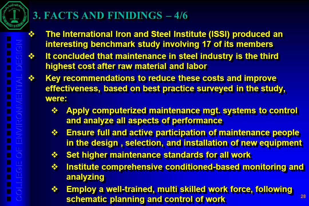 28 3. FACTS AND FINIDINGS – 4/6 3. FACTS AND FINIDINGS – 4/6  The International Iron and Steel Institute (ISSI) produced an interesting benchmark stu