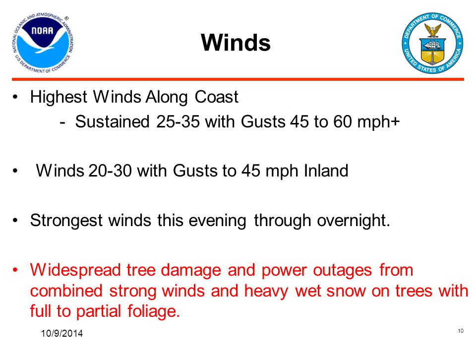 Winds 10/9/2014 10 Highest Winds Along Coast - Sustained 25-35 with Gusts 45 to 60 mph+ Winds 20-30 with Gusts to 45 mph Inland Strongest winds this evening through overnight.