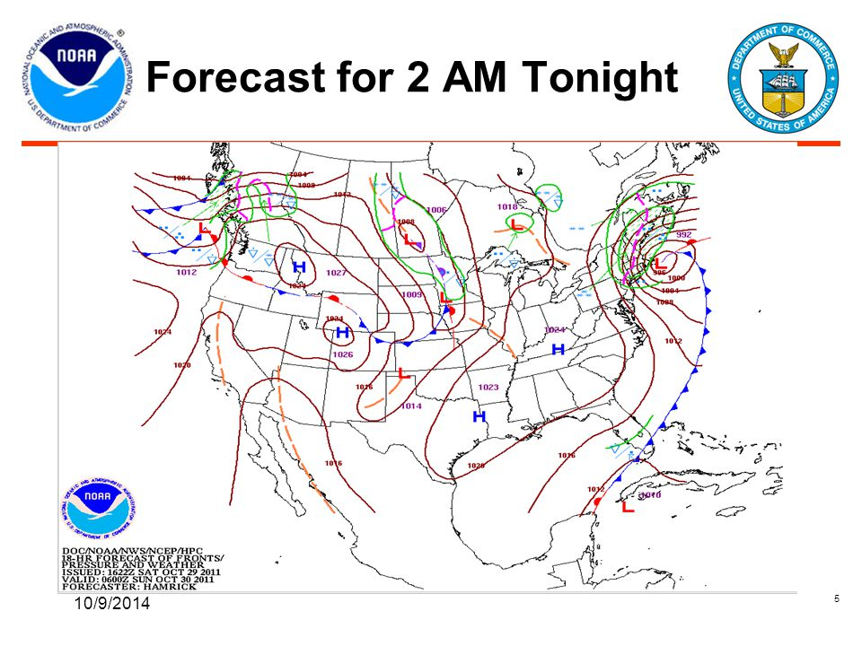 Forecast for 2 AM Tonight 10/9/2014 5