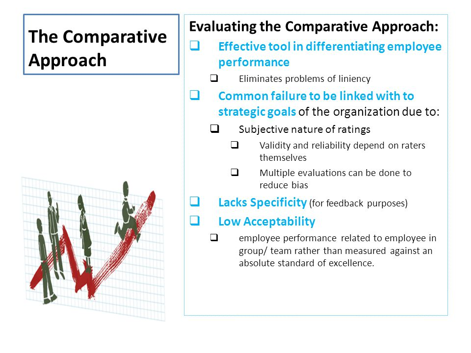 The Comparative Approach Evaluating the Comparative Approach:  Effective tool in differentiating employee performance  Eliminates problems of linien