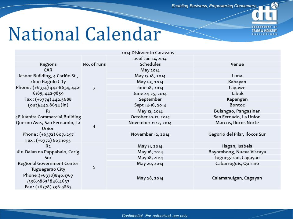 Confidential. For authorized use only. Enabling Business, Empowering Consumers National Calendar 2014 Diskwento Caravans as of Jun 24, 2014 RegionsNo.