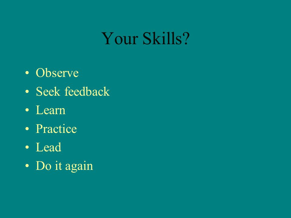 Your Skills Observe Seek feedback Learn Practice Lead Do it again