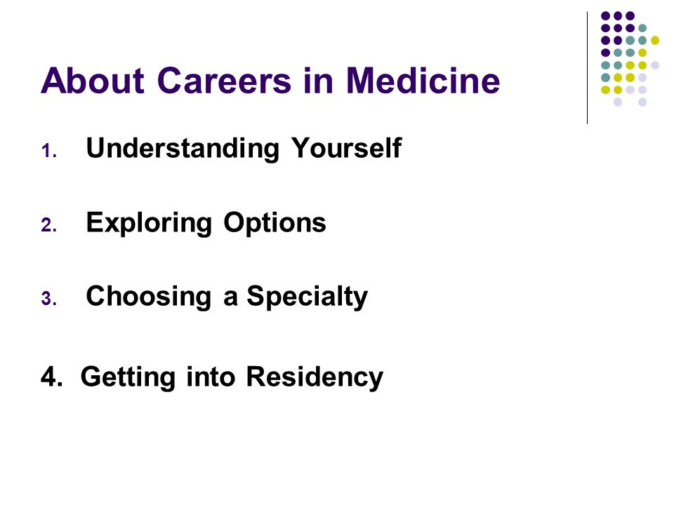 About Careers in Medicine 1. Understanding Yourself 2. Exploring Options 3. Choosing a Specialty 4. Getting into Residency