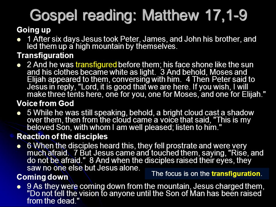 Gospel reading: Matthew 17,1-9 Going up 1 After six days Jesus took Peter, James, and John his brother, and led them up a high mountain by themselves.