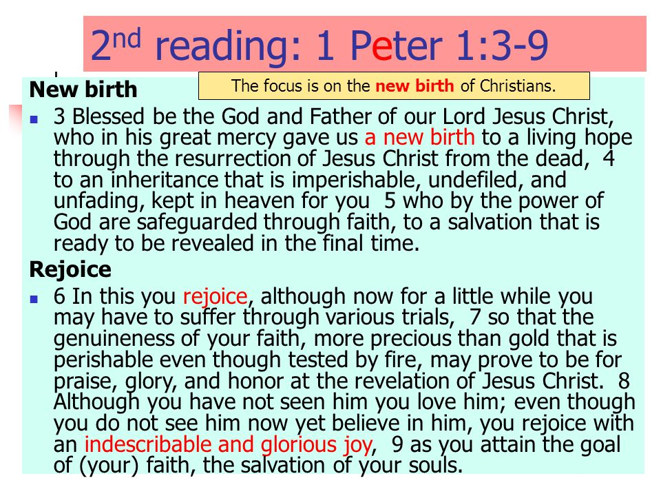 2 nd reading: 1 Peter 1:3-9 New birth 3 Blessed be the God and Father of our Lord Jesus Christ, who in his great mercy gave us a new birth to a living hope through the resurrection of Jesus Christ from the dead, 4 to an inheritance that is imperishable, undefiled, and unfading, kept in heaven for you 5 who by the power of God are safeguarded through faith, to a salvation that is ready to be revealed in the final time.