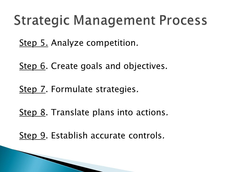 Step 5. Analyze competition. Step 6. Create goals and objectives. Step 7. Formulate strategies. Step 8. Translate plans into actions. Step 9. Establis