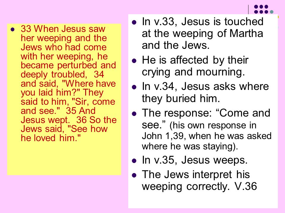 33 When Jesus saw her weeping and the Jews who had come with her weeping, he became perturbed and deeply troubled, 34 and said, Where have you laid him They said to him, Sir, come and see. 35 And Jesus wept.