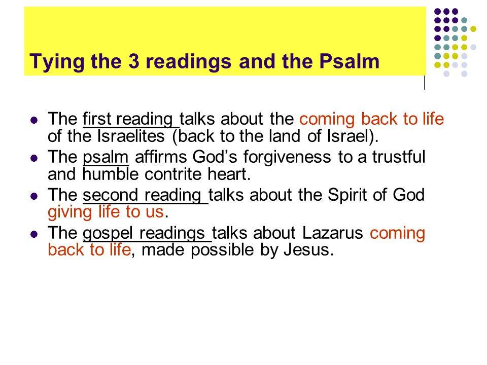 Tying the 3 readings and the Psalm The first reading talks about the coming back to life of the Israelites (back to the land of Israel).