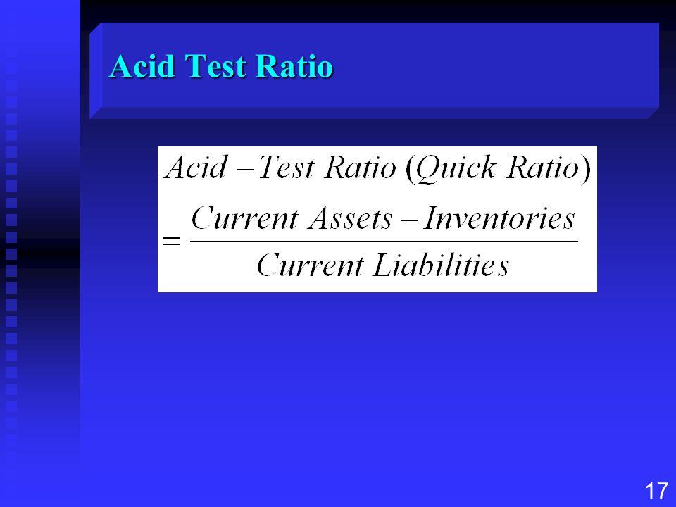 17 Acid Test Ratio