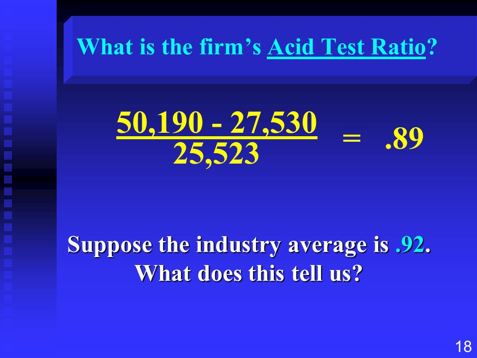 18 What is the firm's Acid Test Ratio? Suppose the industry average is.92. What does this tell us? 50,190 - 27,530 25,523 =.89