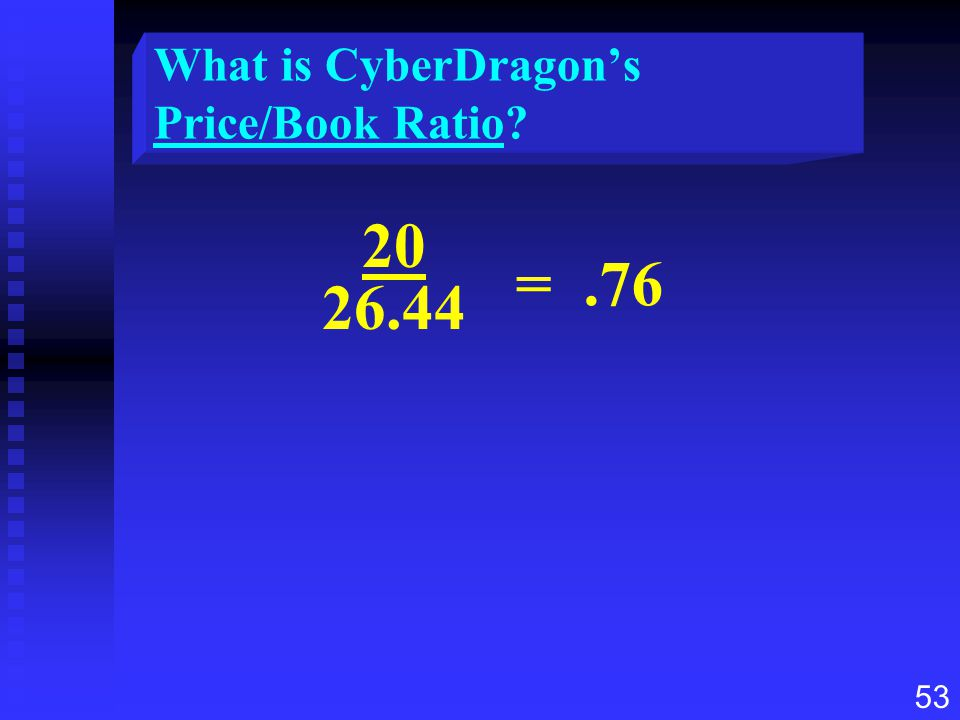 53 What is CyberDragon's Price/Book Ratio? 20 26.44 =.76