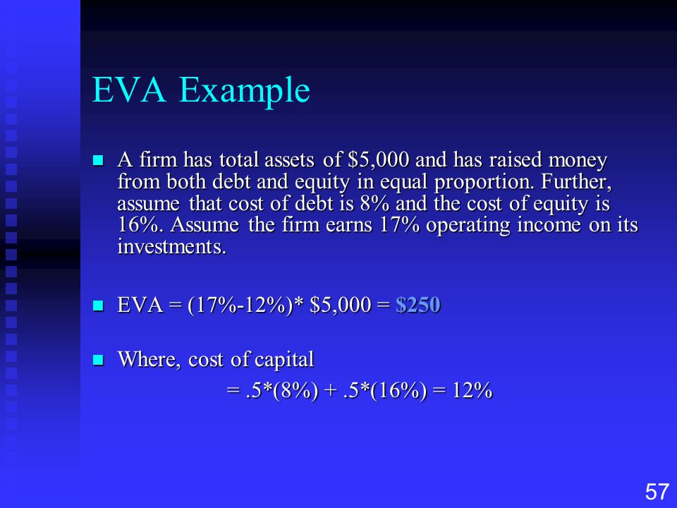 57 EVA Example n A firm has total assets of $5,000 and has raised money from both debt and equity in equal proportion. Further, assume that cost of de