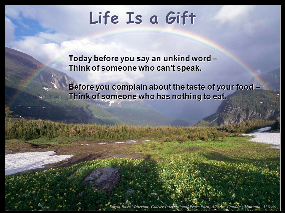 Life Is a Gift  Today before you say an unkind word – Think of someone who can t speak.