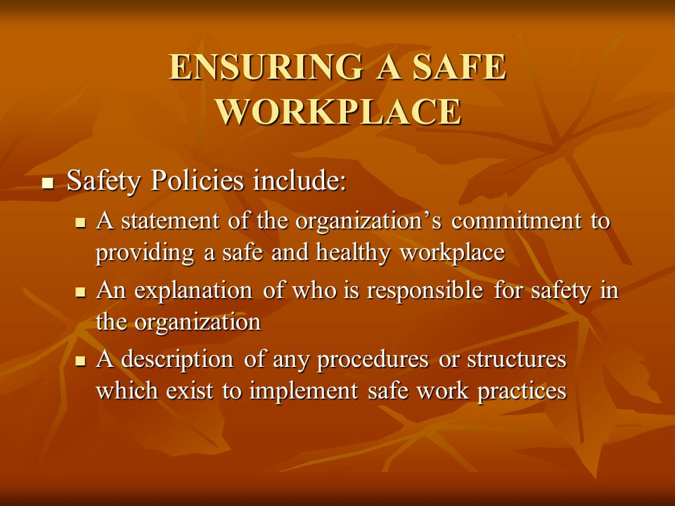 ENSURING A SAFE WORKPLACE Safety Policies include: Safety Policies include: A statement of the organization's commitment to providing a safe and healt