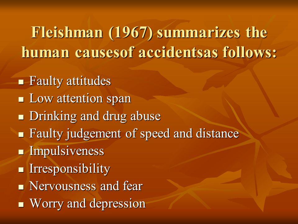 Fleishman (1967) summarizes the human causesof accidentsas follows: Faulty attitudes Faulty attitudes Low attention span Low attention span Drinking a