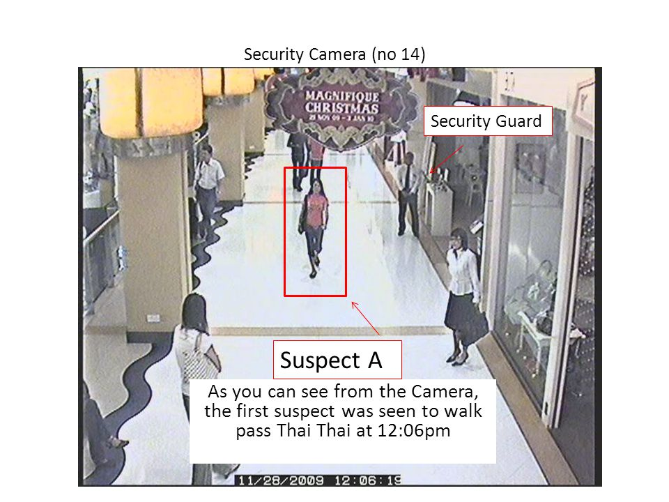 Security Camera (no 14) Suspect A As you can see from the Camera, the first suspect was seen to walk pass Thai Thai at 12:06pm Security Guard