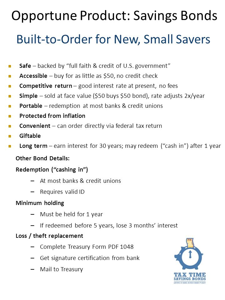 Built-to-Order for New, Small Savers Safe – backed by full faith & credit of U.S.