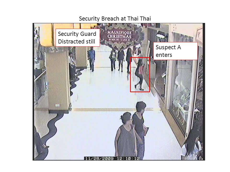 Security Breach at Thai Thai Suspect B distracting Security Guard, while suspect A walked out with a couple of bags