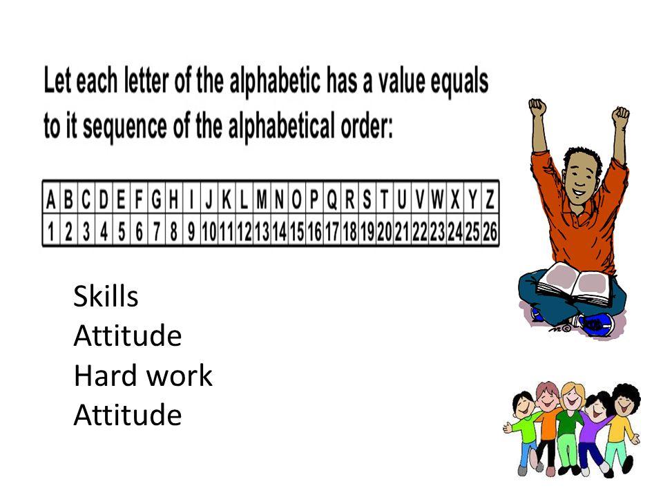 Skills Attitude Hard work Attitude