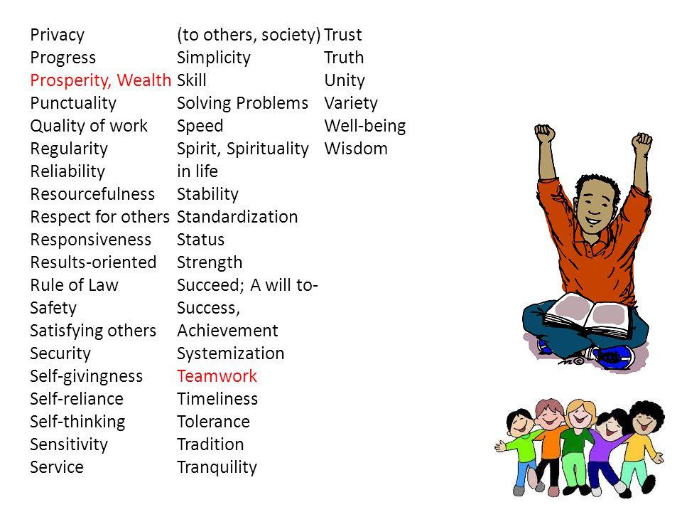 1.Principles, standards, morals, ethics, ideals. 2.