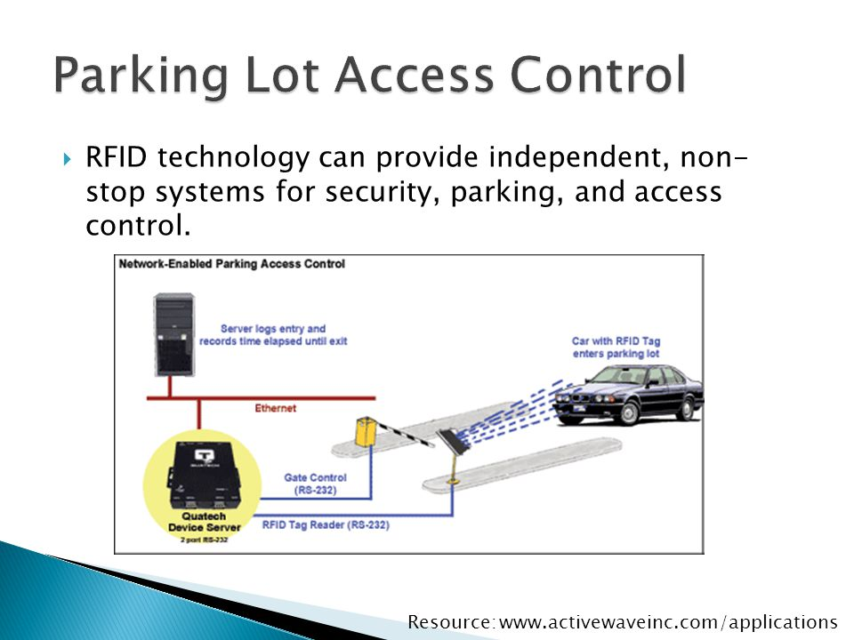  RFID technology can provide independent, non- stop systems for security, parking, and access control. www.activewaveinc.com/applicationsResource: