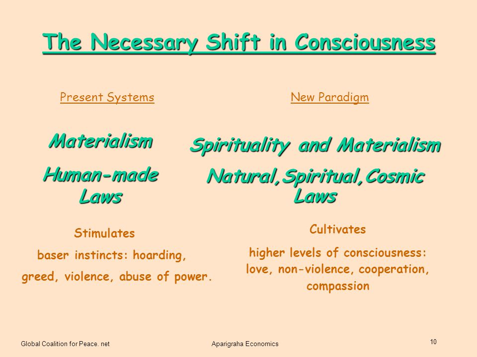 Global Coalition for Peace. netAparigraha Economics 10 Present SystemsNew Paradigm Materialism Human-made Laws Spirituality and Materialism Natural,Sp