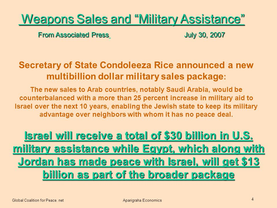 Global Coalition for Peace. netAparigraha Economics 4 Secretary of State Condoleeza Rice announced a new multibillion dollar military sales package :