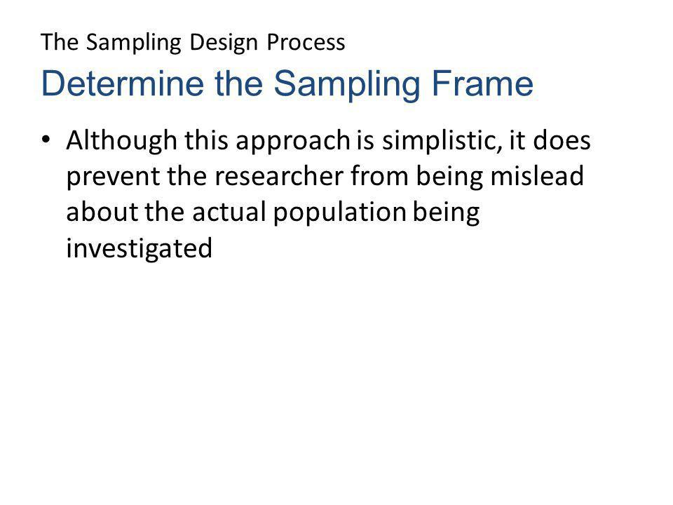 The Sampling Design Process Although this approach is simplistic, it does prevent the researcher from being mislead about the actual population being