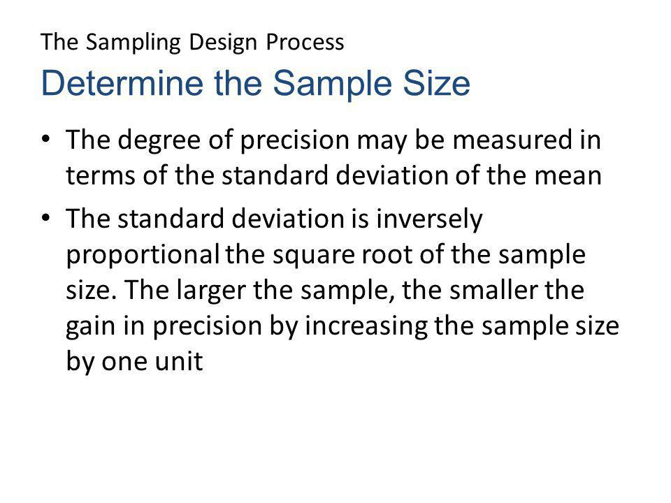 The Sampling Design Process The degree of precision may be measured in terms of the standard deviation of the mean The standard deviation is inversely